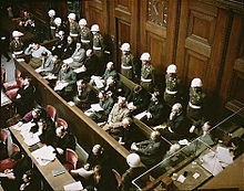 """""""Defendants in the dock"""" at the Nuremberg Trials, (from Wikipedia)"""