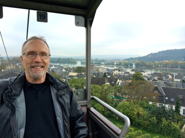 Bill G. on chair-lift to Monument, 10-18-14 (photo taken by Lois)
