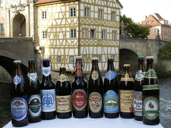 Some of the many types of beer brewed by Bamberg's 10 breweries