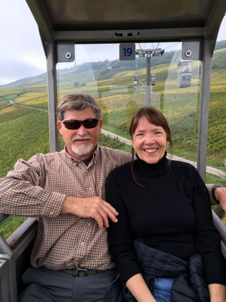 Fox & Lois on chair-lift to Monument, 10-18-14 (photo taken by Bill G.)