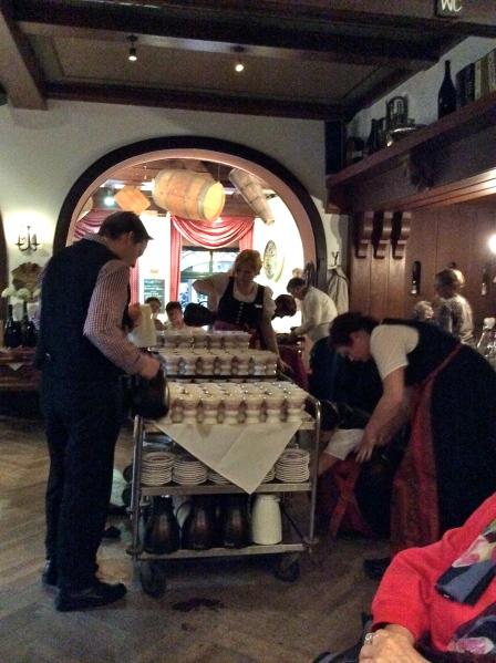 Servers preparing the Rüdesheimer Kaffee, 10-18-14