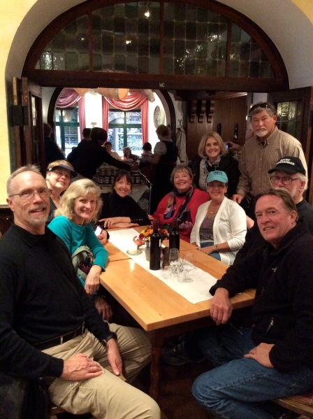Bill G., Dallas, Barb, Lois, Ann, Susan (behind), Susie, Fox (behind), Ross, & Bill in Schloss Rüdesheim, 10-18-14