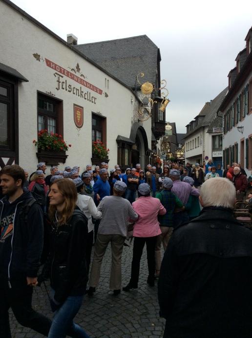 Townsfolk celebrating the Federweisser Festival in Rüdesheim, 10-18-14
