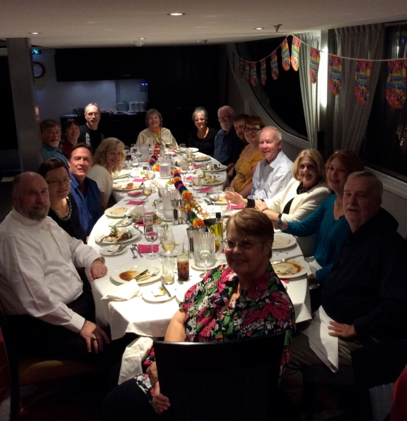 The 17 of us at Ann's birthday dinner, 10-18-14