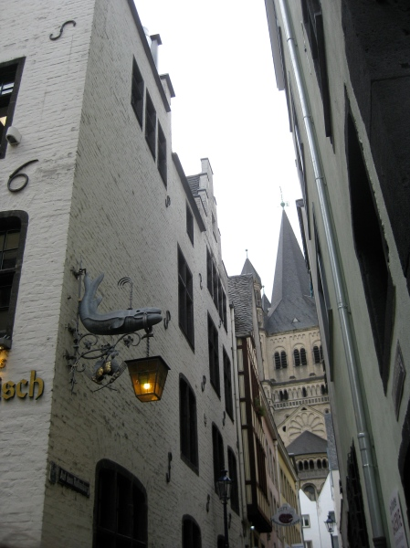 On the left, the pub where we drank our Sunner Kolsch beer, the Church peeking from behind, 10-17-14