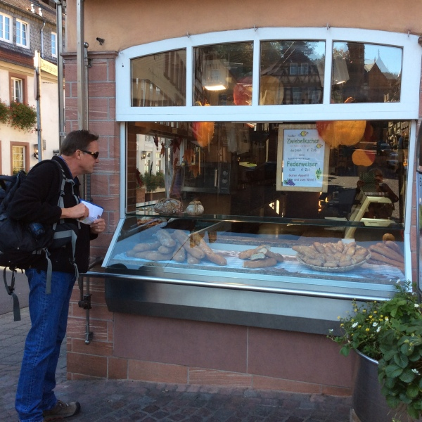 Bill checking out the bread in the bakery, but it was closed, 10-19-14