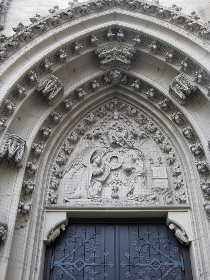 """""""Annunciation of Mary"""" on the North Portal, Marienkapelle, 10-20-14"""
