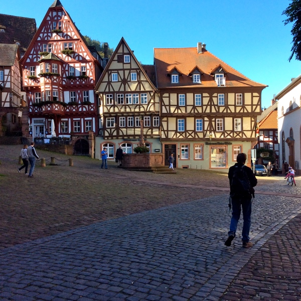 Bill nearing the Marktplatz of Miltenberg, 10-19-14