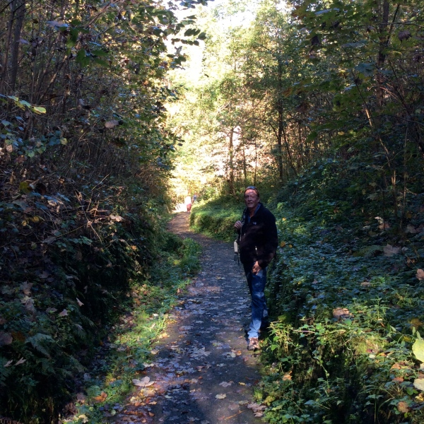Bill on the trail up to the castle, 10-19-14