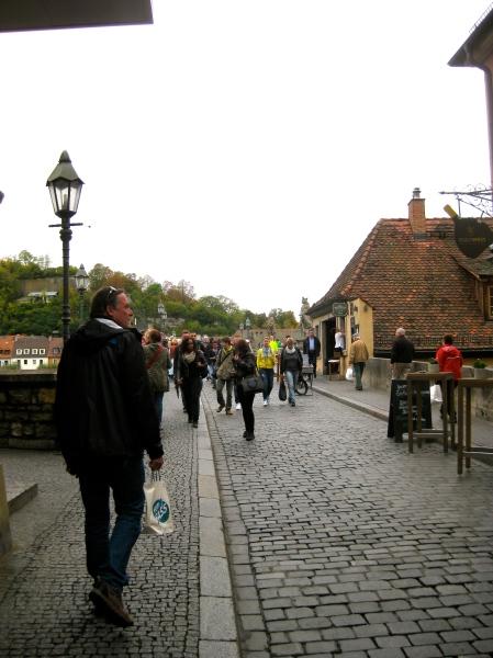 Bill heading to the Alte Mainbrücke (Old Main Bridge), 10-20-14
