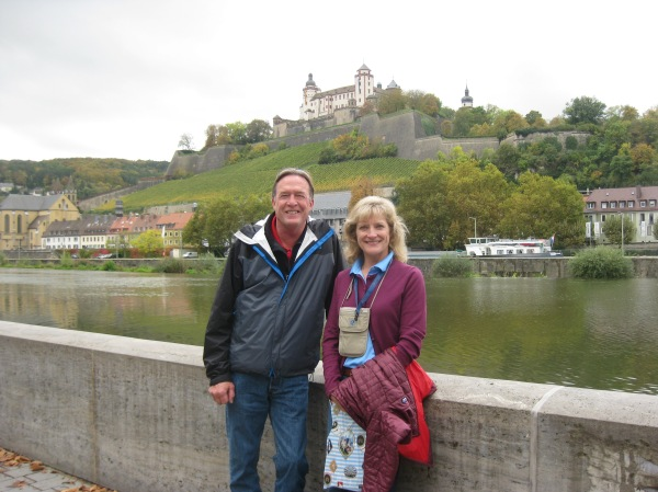 Bill and Dallas posing in front of the Marienberg Fortress, 10-20-14