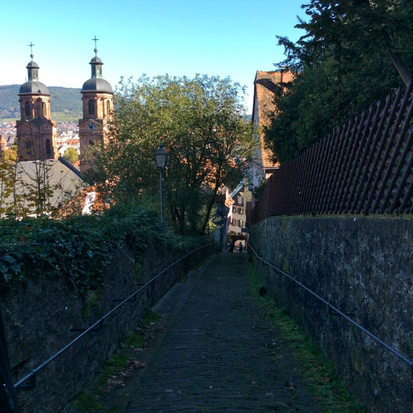 Walking back down from the castle, St. James Church on left, 10-19-14