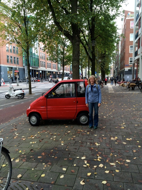 Dallas with a funny little car in Amsterdam, 10-15-14