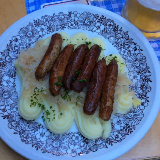 My plate of sausages, sauerkraut and potatoes, yum!