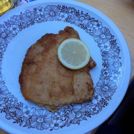 Bill's plate of Schnitzel, exellent!