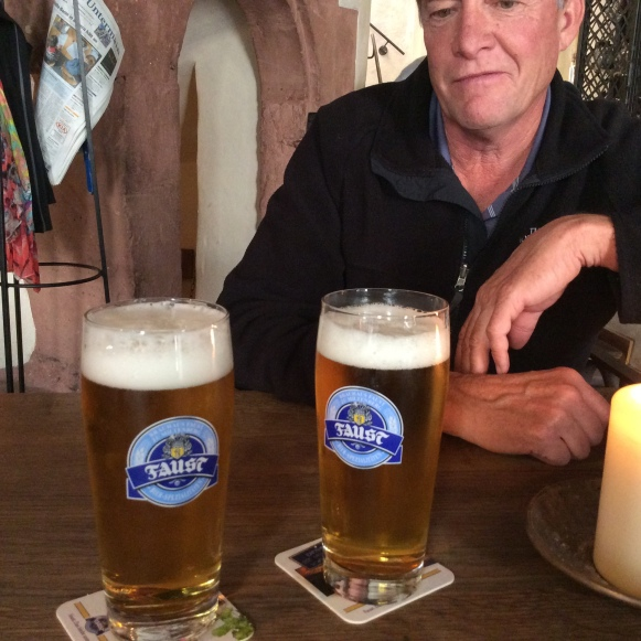 Bill with our Faust Bier in the Gasthaus zum Riesen, 10-19-14