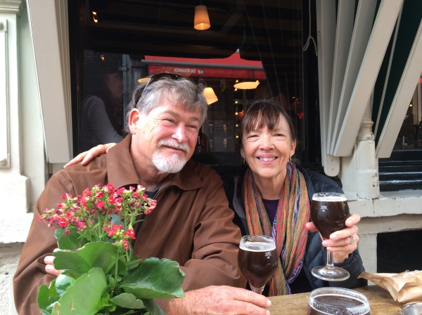 Fox & Lois drinking good beer in Amsterdam, 10-16-14