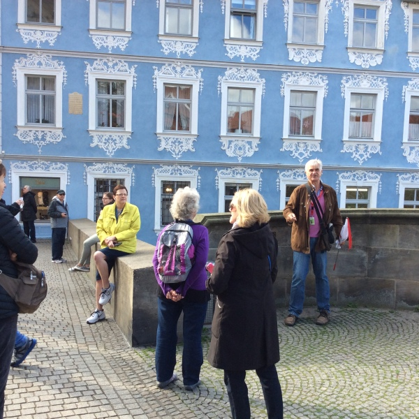 Lois, Jan & Susan listening to the guide talk about the Kaiserin Kunigunde statue, 10-21-14