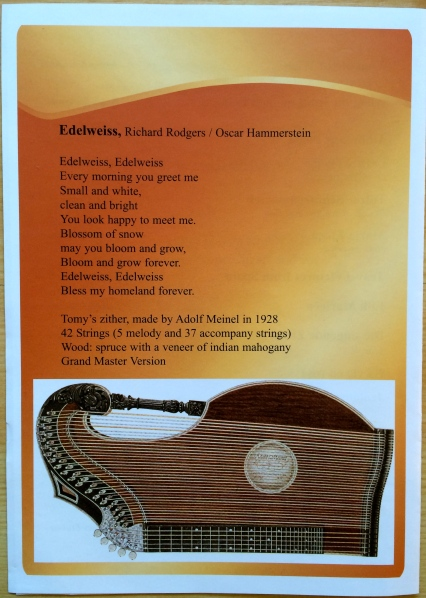 Zither Concert by Tomy Temerson program, 10-19-14