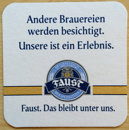 My Faust Bier coaster!