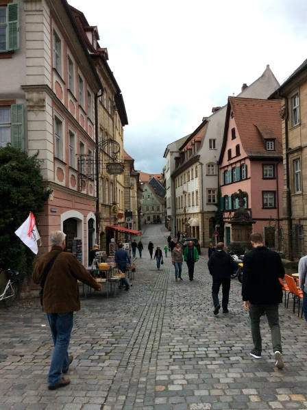 Walking through Bamberg's streets on the way to the Schlenkerla, 10-21-14
