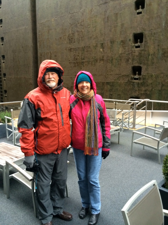 Fox & Lois on top deck while inside the lock, 10-22-14