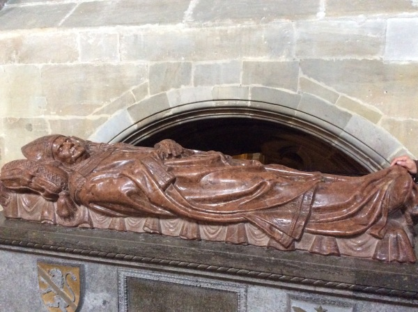 "Not sure who this depicts, but it's possibly Pope Clement II.  ""Bamberg Cathedral is the site of the only papal burial outside of Italy and France."" (Wikipedia)"