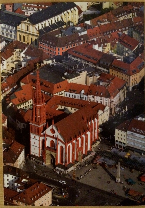 The Marienkapelle am Marktplatz from above (postcard)