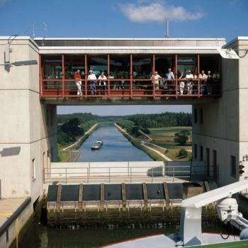 A lock on the Main-Danube Canal with viewing area above (photo from britannica.com)