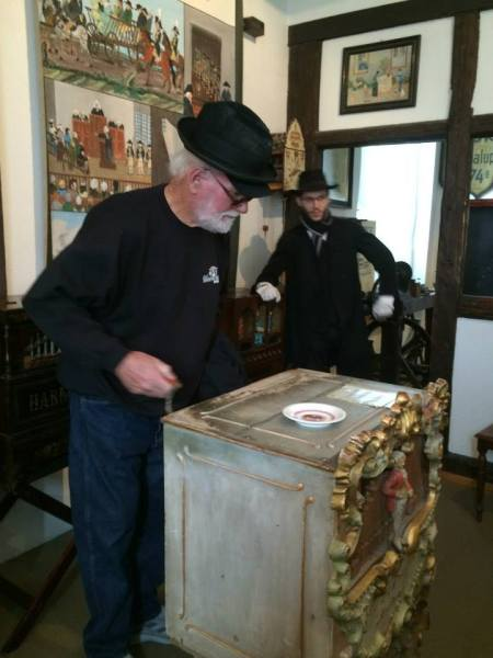 Ross acting as street organ grinder on 10-18-14 (photo taken by Sue)