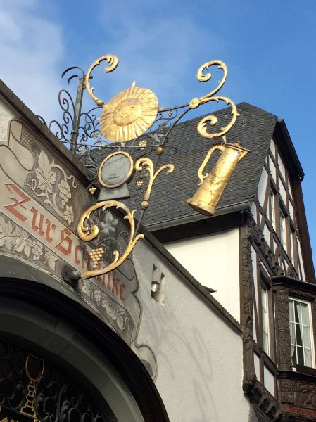 Sign above a Rüdesheim coffee shop, 10-18-14 (photo taken by Lois)