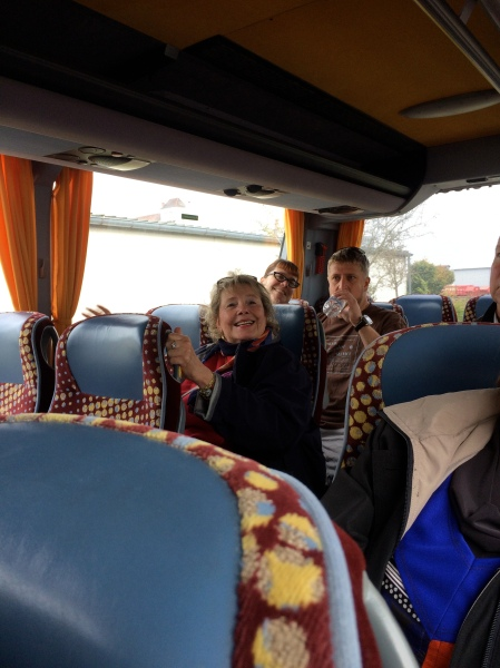 On the bus to Bamberg, Ann, Sam & Dom, 10-21-14 (photo taken by Sue)