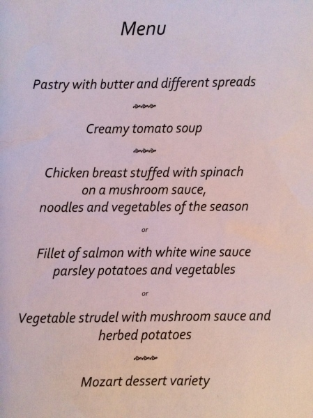 "My menu for the luncheon (I ordered the ""Vegetable strudel""), 10-24-14"