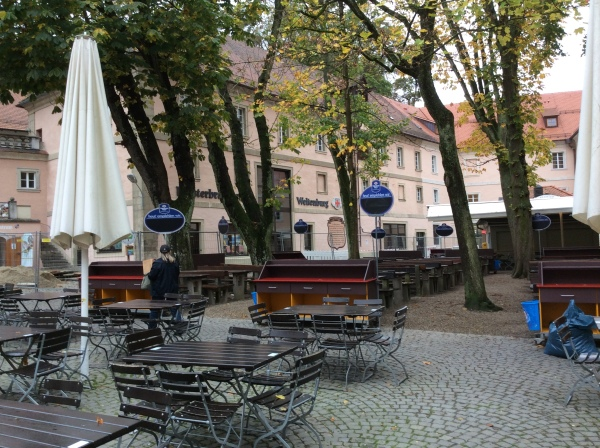The Weltenburger Klosterbrauerei at the Abbey, with the outside bier garten in use during the warmer months, 10-23-14