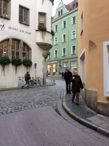 Interesting street in the Altstadt of Regensburg (Adler-Apotheke in background), 10-23-14