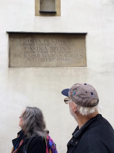 Susie & Ross reading the sign at Porta Praetoria, 10-23-14