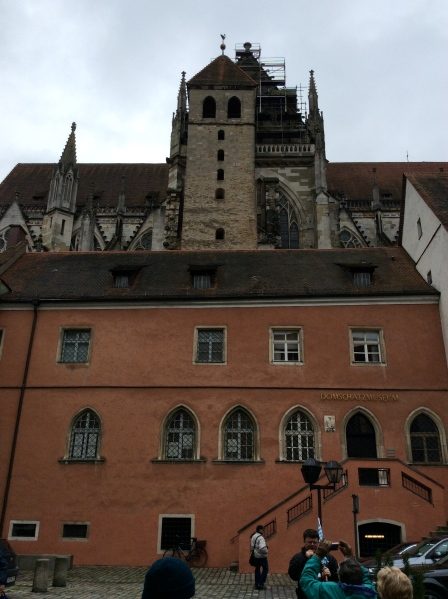 Behind the Domschatzmuseum we could see part of the Cathedral, including the oldest tower of the bldg., 10-23-14