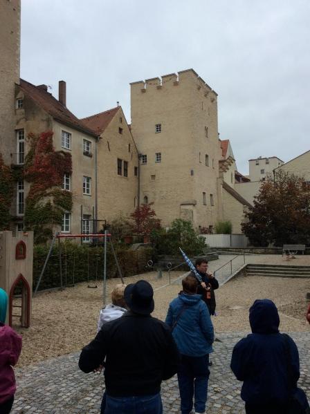 Peaked-roof bldg. to left of tower is Johanne Kepler's house, 10-23-14