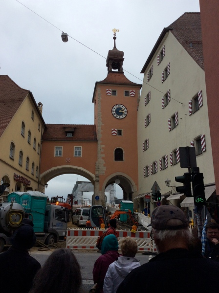 Construction ongoing at the Brückturm leading to the Stone Bridge, 10-23-14