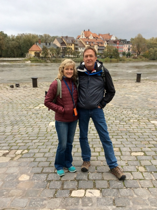 Dallas & Bill near the Old Sausage Kitchen, in front of the Danube, 10-23-14