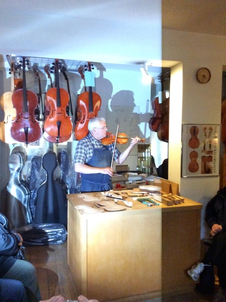 Demonstrating the beautiful sound the violin makes, 10-23-14