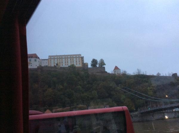 Docking at Passau, Veste Oberhaus on the hill, 10-24-14