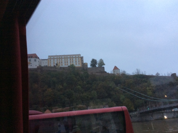 Docking at Passau, Veste Oberhaus on the hill, 10-24-14