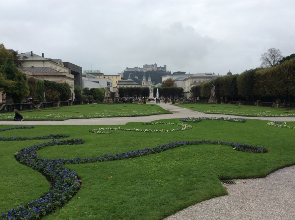 The Mirabell Gardens with Hohensalzburg Castle on the hill, 10-24-14