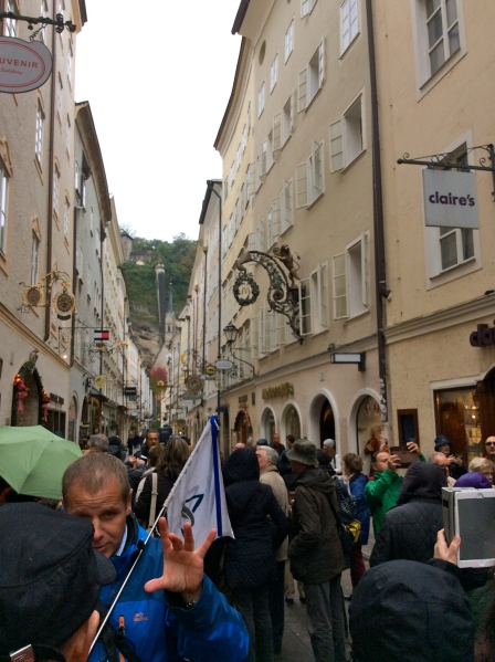 Following our guide through the crowded streets of Salzburg, 10-24-14