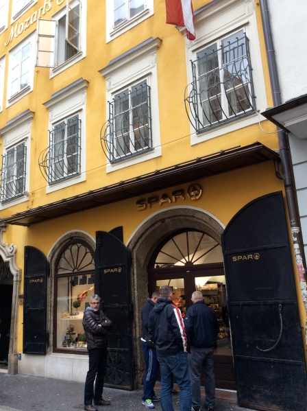 """""""Spar"""" shop (has a collection of Austrian beers, wine, cheeses, chocolates, etc.) at the bottom of the house where Mozart was born, 10-24-14"""