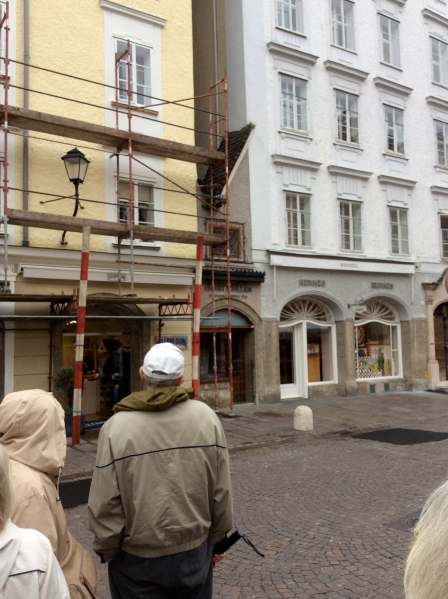 The skinniest building in Salzburg--see its tiny roof?  (10-24-14)