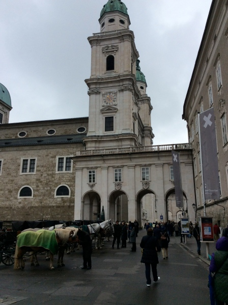 Approaching the Salzburg Cathedral (built 1614-1628) & the Archbishop's Residenz, 10-24-14