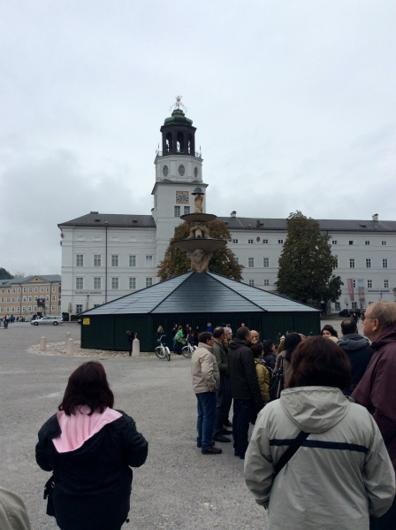 The beautiful Residenzplatz Fountain, covered for the winter, 10-24-14