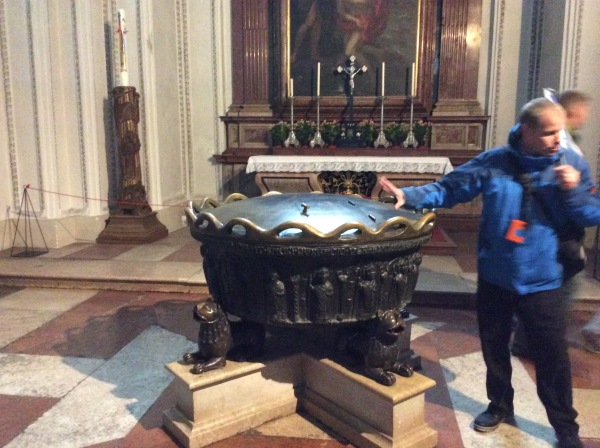 We were only inside long enough to see the baptismal font where Mozart was baptised, 10-24-14